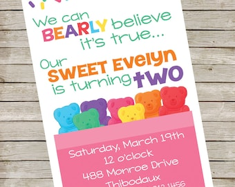Gummy Bear Invitation PIY file ~ Gummy Bears Printable ~ Gummy Bear Birthday Invite Digital File