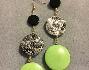 Silver, Black and Green Turquoise Disk Earrings