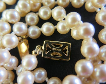 Vintage Monet Hand-Knotted Light Peach Faux Pearl Necklace