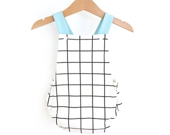 Romper was, gingham romper with blue cross back straps