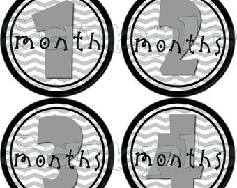 12 Neutral Baby Monthly Stickers Month to Month stickers Baby monthly Stickers Baby Shower gift Baby Month stickers Grey Baby stickers gray