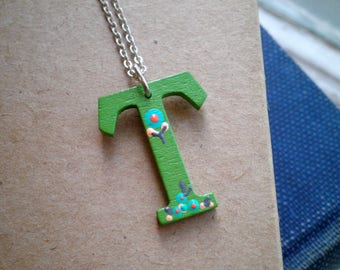 Letter T Wood Initial Charm Necklace - Hand Painted Floral Letter T Pendant - Green T Personalized Jewelry Gift / Tiny Flower Art Necklace