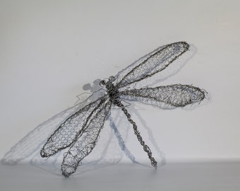 Dragonfly Decor, Wire Insect Art, Dragonfly Sculpture, Wire Dragonfly, Insect Decor, Home Decor, Dragonfly Figurine, Birthday Gift