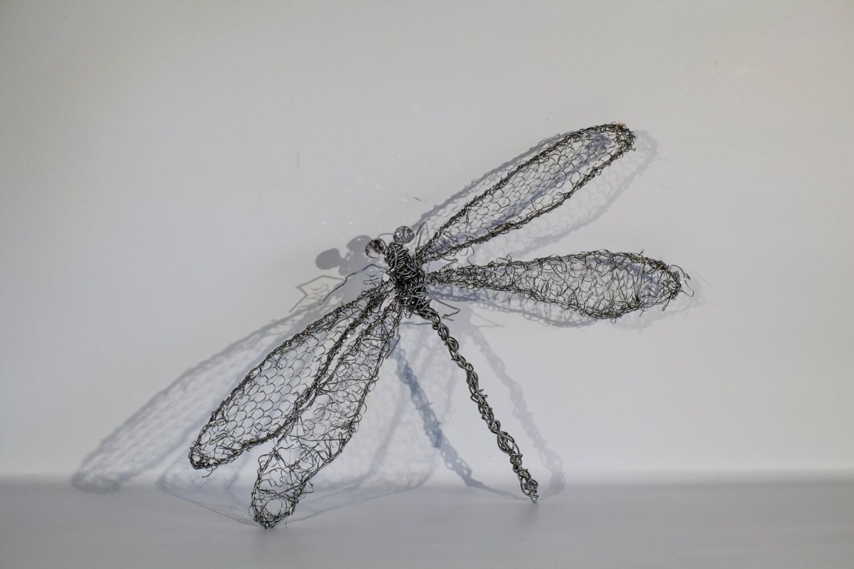 Libelle-Dekor Draht Insekt Libelle Skulptur Kunst Draht