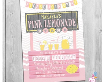 Lemonade Birthday Invitation, Lemonade Stand Invitation, Lemonade Invite, Lemonade Party Invitation, Pink Lemonade Birthday Invitation