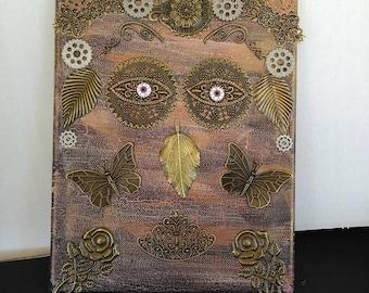 Steampunk art, Nature face, brass collage art