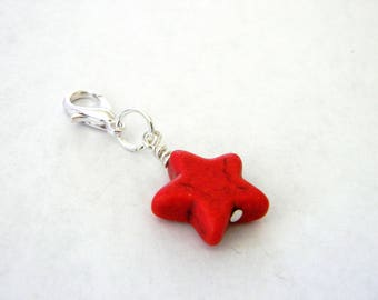 Red Star Charm with Lobster Clasp Stone 15mm