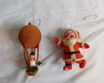 Vintage Mid Century 1960s 60s Flocked Santa Claus Ornaments - Chenille Stem Beard - Retro Christmas    Box I