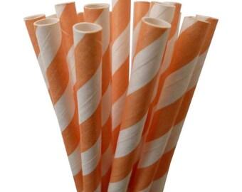 "Long Paper Straws   Peach Stripe Paper Straws   10.5"" Peach Paper Straws   Stripe Party Straws   Soda shop straws    Drinking Paper Straws"