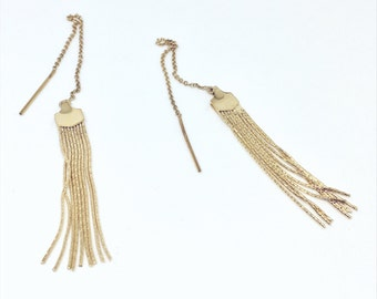 Tassel Ear Threader - 14k Gold fill fringe tassel ear threader