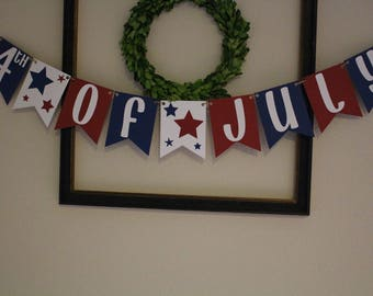 4th of July Banner / Independence Day / Summer Party / Hanging Banner / Red, White & Blue / Stars /