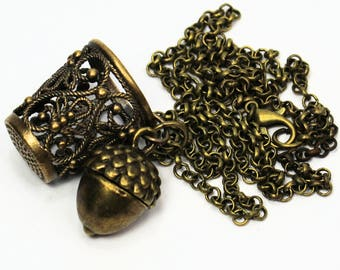 Peter Pan Brass and Bronze Thimble and Acorn Necklace Peter Pan and Wendy Hidden Kisses