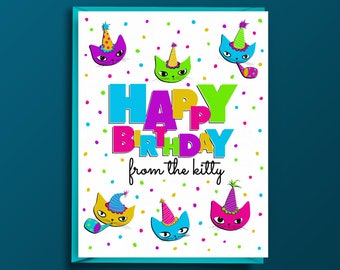Cat Birthday Card - Cat Greeting Card, Birthday Card from Cat, Card for Cat Lovers, Blank, Happy, Cat Moms, Cat Dads, Cats in Party Hats