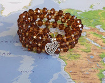Brown Topaz Colored with Yellow Topaz Colored Glass Beads on Memory Wire, Wrap Bracelet, Coil Bracelet, Beaded Bracelet, Jewelry