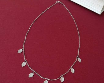 Колье Листья Серебро 925 - Silver leaf charm necklace