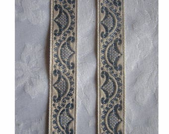 Marie's Fainting Couch - French Regency Woven Jacquard  Ribbon Trim - Pale METALLIC Champagne GOLD and Poweder Blue