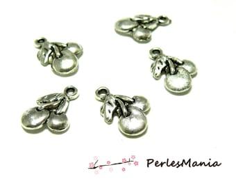 10 pendants silver 3D R2B3211 old cherry charm