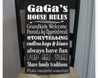GaGa House Rules for Grandchildren with love Grandmother  Handpainted Wood Sign 16 x 10.5