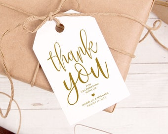 Gold Thank You Tag, Gift Tags, Wedding Thank You Tags, Wedding Favor, Thank You Printable, Favor Tag, DiY Kraft Printable tags, WPC_978