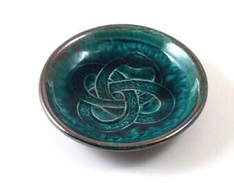 OUROBOROS Snake  RAKU Offering Bowl Handmade Ceramic Pottery