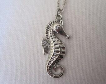 Seahorse Necklace - Solid Silver tone Seahorse Necklace - Nautical Necklace - Beach Necklace