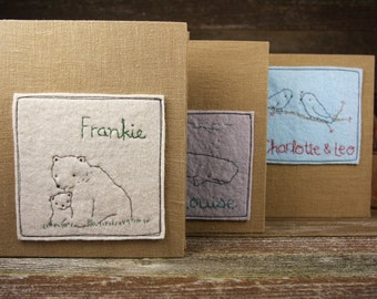 Linen Archival Photo Album with Hand Embroidered Wool Felt Patch: Personalized or Plain by Kata Golda