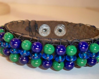 Leather Beaded Bracelet Blue & Green Beads Leather Bracelet, Leather Bracelets for Women and Men Available in a Variety of Colors and  Beads