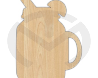 Mason Jar Drink- 01588- Unfinished Laser Cutout, Door Hanger, Wreath Accent, Ready to Paint & Personalize, Various Sizes