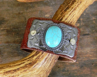 Leather Cuff Bracelet, Tooled Leather Bracelet with Silver and Turquoise Belt Buckle, Wastern, Boho Wide Leather Cuff Bracelet, Distressed
