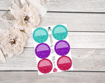 Bright Glitter Circle Stickers