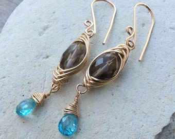 Smokey QUARTZ and APATITE earrings, 14k gold filled woven jewelry, handmade by AngryHairJewelry