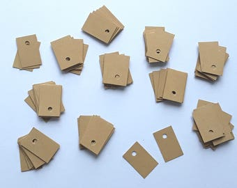 Set of 100 mini price 2.3 thick kraft paper tags x 1.5 cm