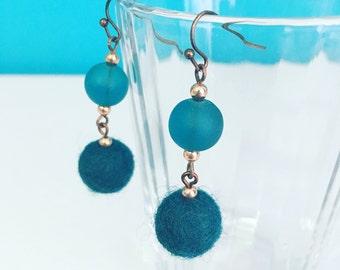 Newport Felt Earrings in Teal, Aqua Blue Earrings, Felt Balls, Recycled Glass, Dangle Earrings, 7th Anniversary Gift, Wool Anniversary
