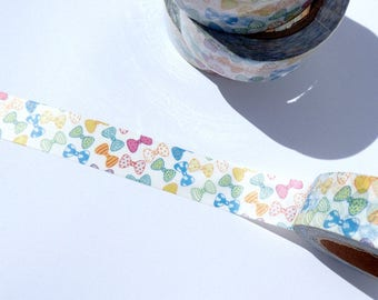 Bow Ties Washi Tape - Paper Tape for Calendars Scrapbooking Paper Crafts Organizing 15mm x 10m - Colorful Man's Tie