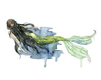 """Mermaid Painting, Watercolor Painting, Mermaid Print, Beach Decor, Mermaid Tail, Mermaid Art, Mermaid Decor, Sea, Print titled, """"Drifting"""""""