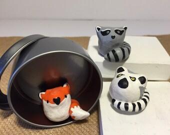 Clay Animal Totem Fox, Lemur, Raccoon in Gift Tin Set of Three Forest animals