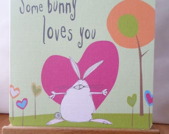 Greeting card 'Some Bunny Loves You' - 15cm x 15cm
