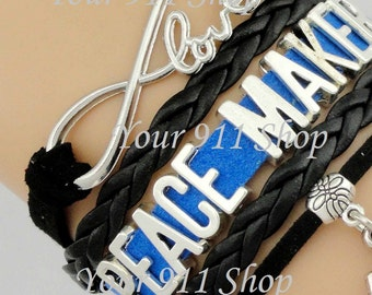 Thin Blue Line Law Enforcement LEO Cop Police Sheriff Peacemaker Wife Mom Sister Daughter Infinity Leather Dangle Charm Bracelet Blue Black