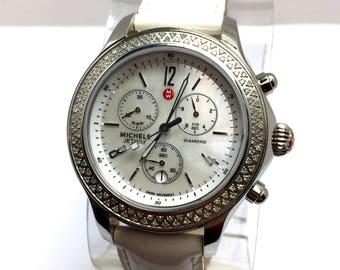 MICHELE JERWAY DIAMOND Chronograph Steel Ladies Watch 112 Diamonds Original Band
