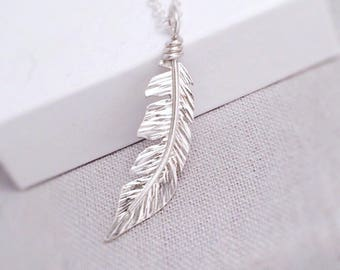 Feather Necklace Sterling Silver | Boho Silver Necklace | Silver Feather Pendant | Handcrafted Silver Jewellery UK
