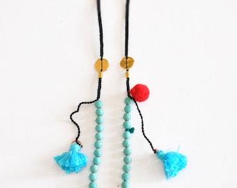 Boho Style Necklace, Turquoise Gemstone Necklace, Bohemian Tassel Necklace,  Free Shipping