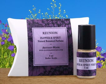 Reunion, Organic Botanical Perfume Oil with Essential Oils, Absolutes and Flower Essences including Rose, Lavender, Aromatherapy Perfume