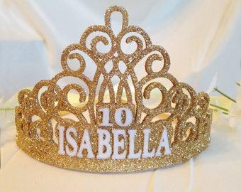 Personalisierte Geburtstagskrone - erster Geburtstag Krone - Quinceañera-Krone - Name Krone - Gold-Glitter Krone - Kronen-Stirnband - Prinzessin Krone