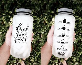 Drink Your Water water bottle, Water bottle tracker, Motivational water bottle, Workout water bottle, 34 oz water bottle