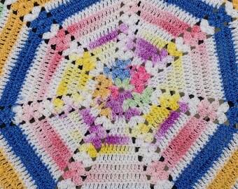 Vintage Doily Crochet Pink Blue Multicolor