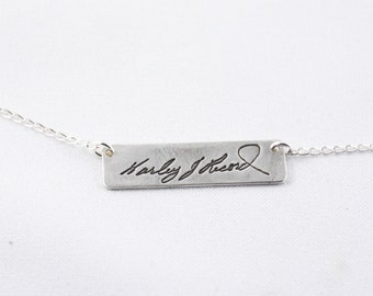 Memorial Jewelry - Actual Writing Signature Single Sided on a Silver Necklace - Handwriting Jewelry - Signature Jewelry
