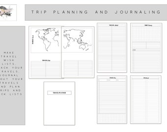 Travel Planner and Journalling for Personal Planner Printable