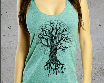Womens Geometric Tree Of Life T Shirt American Apparel Tri-Blend Tri-Lime Tri-Orchid Tank Top S M L Multiple Colors, Christmas Gifts