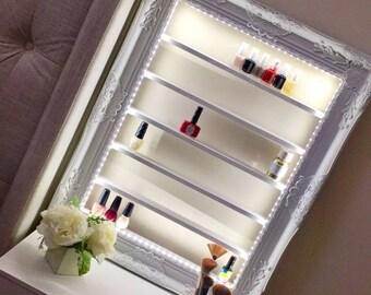 Celeste Nail Polish Rack with LED lights and switch - Nail Polish Organizer - Ornate Shelves - Nail Polish Rack - Shelving Unit - Salon