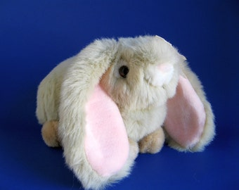 Vintage Bunny Lop Eared Rabbit Stuffed Animal by Chosun Fluffy Gray Faux Fur Pink Ears Long Ears Pink Bow Girly Toy